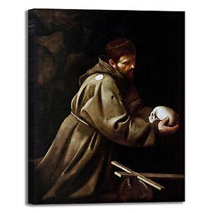 Caravaggio San Francesco Preghiera Quadro Stampa Tela Dipinto Telaio Arredo Casa