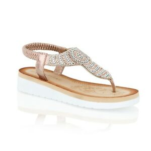Womens Ladies Low Wedge Heel Sandals Summer Holiday beach Casual Shoes Size 3-8