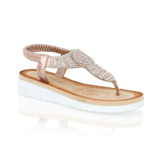 Mujeres Señoras Diamante Toe Post Sandalias de Cuña con Plataforma vacaciones de verano tamaño 3-8