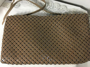 Whiting-and-Davis-International-Vtg-Brown-Mesh-Handbag-Shoulderbag-Crossbody