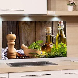 Küchenrückwand Glas Küche mediterran Spritzschutz Herd ...