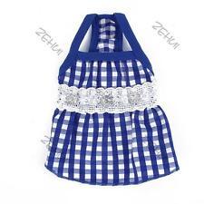 Pet Cat Dog Puppy Doggie Lace Plaid Blue Skirts Dress Shirts Clothes L