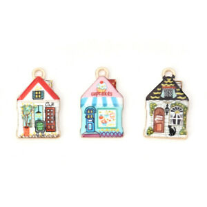 10-PCs-Alloy-Multicolor-Enamel-House-Charms-Pendants-DIY-Crafts-Jewelry-Findings