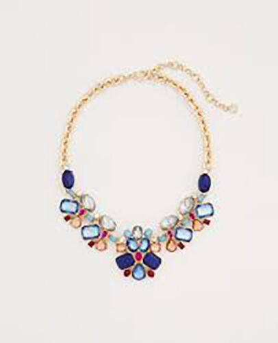Ann Taylor Womens Scattered Stone Statement Necklace NWT 89.50 NAVY MULTI COLOR