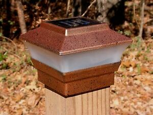 One Solar Fence Post Cap Light Copper Color For 4x4