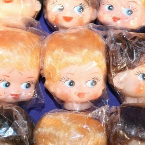 "Lot of 15 DOLL HEADS 2-1//2/"" soft plastic craft rooted hair"