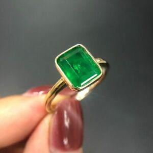 Damen-Ring-Silber-925-18K-Gold-Smaragd-Edelstein-Vintage-Silberring-Geschenk-Neu