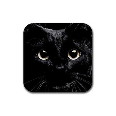FREE SHIPPING New Black CAT Face for Rubber Square Coaster 4 pack