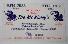 VINTAGE 1950s RADIO ADVERTISING CARD KANSAS CITY KANSAS JAYHAWKS UNIVERSITY LOGO
