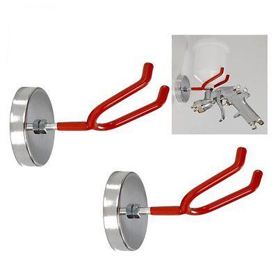 2 HVLP Gravity Feed Spray Gun Magnetic Holder Locker Hook Metal Steel Bracket