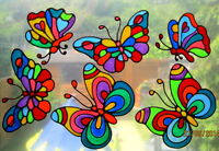 BEA'S RETRO STAINED GLASS EFFECT BUTTERFLY WINDOW CLING