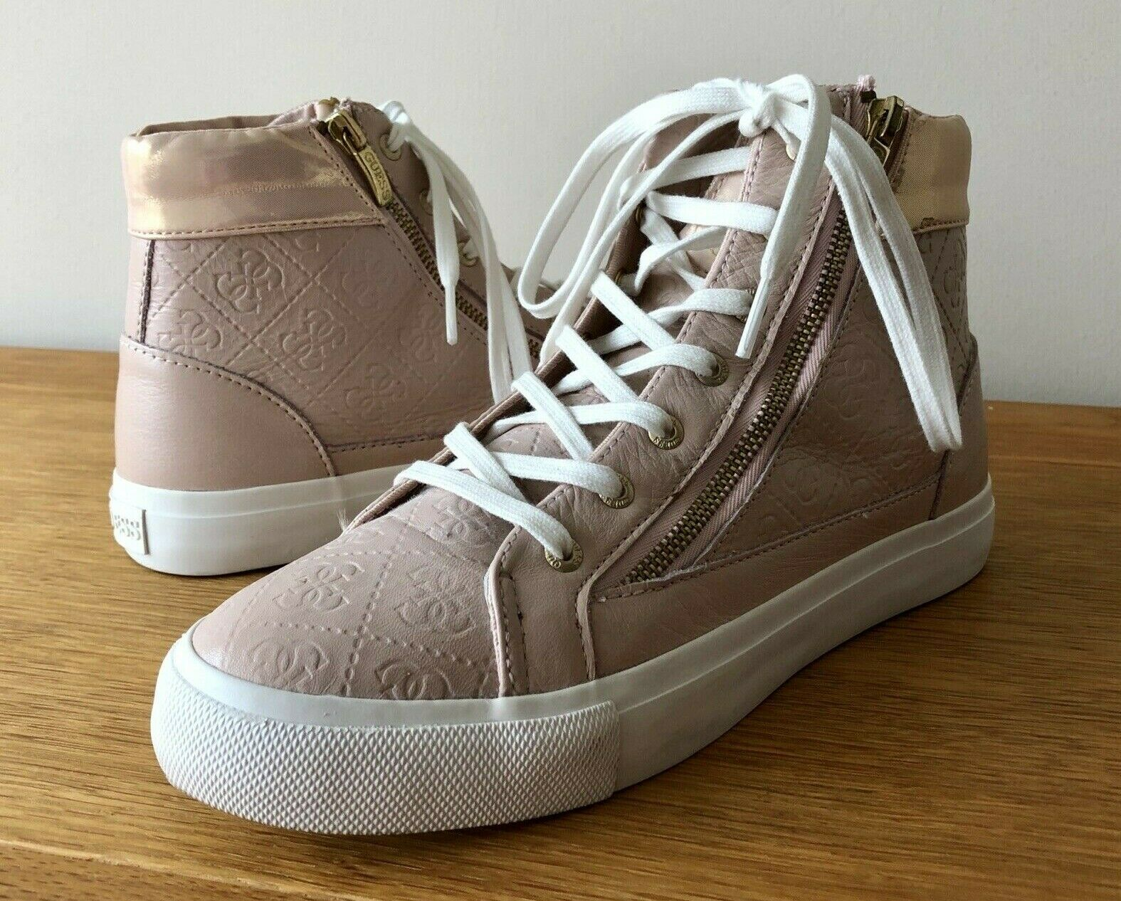 GUESS LOS ANGELES 1981 WOMENS NIKO 4G LOGO SNEAKERS TRAINERS pink UK SIZE 6