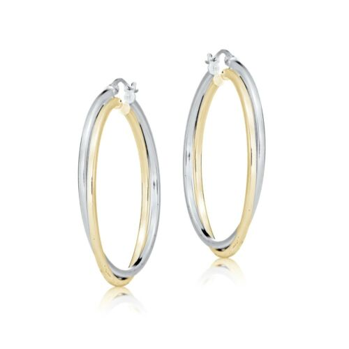 Sterling Silver Two-Tone Square-Tube Double Twisted 37mm Round Hoop Earrings