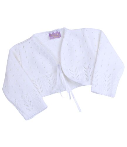 BabyPrem Baby Toddler Clothes Knitted Pink White Bolero Fancy Cardigan Sweater