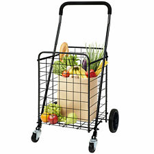 Shopping Cart With Dual Swivel Wheels For Groceries Compact Folding Portable