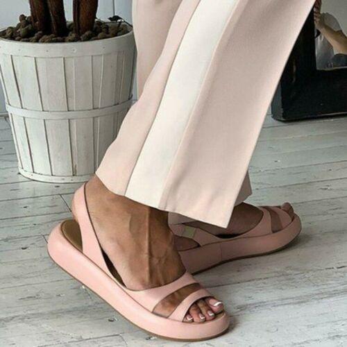 Details about  /Fashion Women Sandals Peep Toe Slingback Fashion Flat Summer Shoes Size