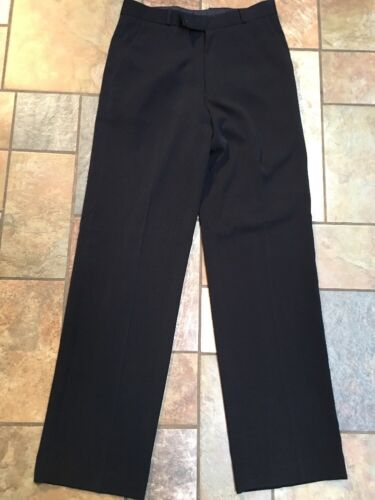 Men's Quorum Black Wool Flat Front Pants Sz 31 Ins