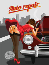 AUTO REPAIRS: SAUCY:PIN-UP:RISQUE:MODEL:GREAT GIFT HIM-HER   METAL SIGN