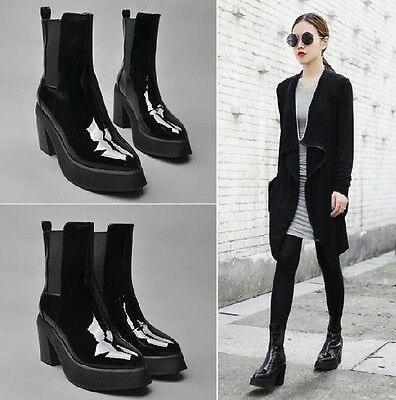 Women Platform Chunky High Heel Pull On Ankle Boots Point Toe Punk Goth Shoes ty