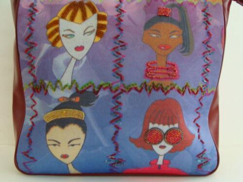 nuevo ladrillo de mano vinilo retro de cuentas brillantes de Bolso tela con de colorido rojo señoras xPpAEw