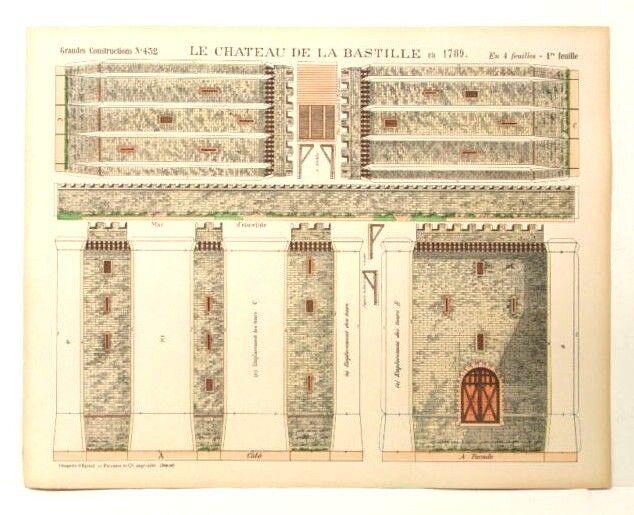 Imagerie d'epinal No432 Chateau de la Bastillegrandes construcciones modelo de papel