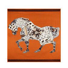 "Twill Silk Square Scarf Women's Fashion Orange Printed Of Scarf Horses 51""*51"""