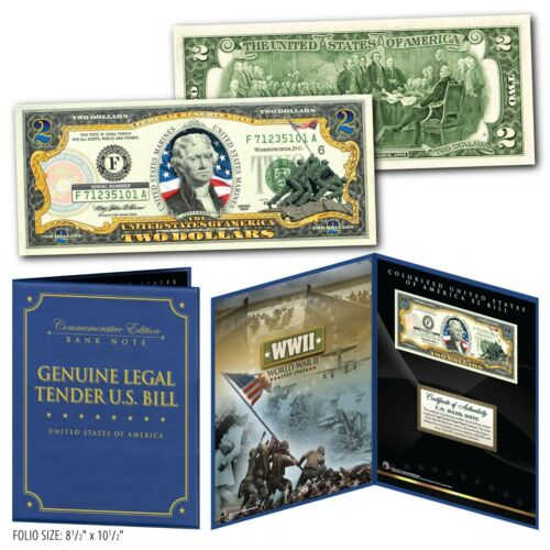United States MARINES WWII Vintage Genuine $2 Bill in Large Collectors Display