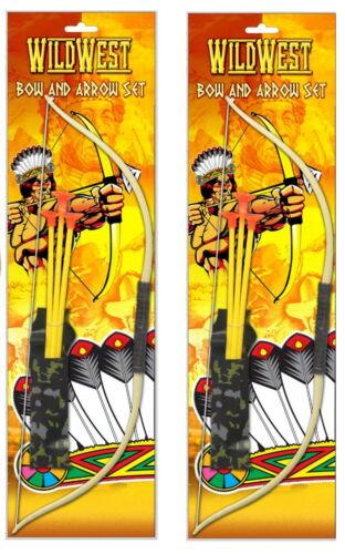 2 x KIDS PLAY BOW AND ARROW JUNIOR TOY ARCHERY COWBOYS INDIANS WILD WEST GARDEN