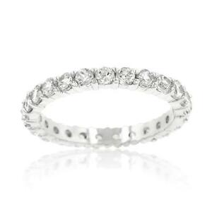 1.56 TCW Round Cut Prong CZ Stackable Eternity Bridal Wedding Band Ring Size 9