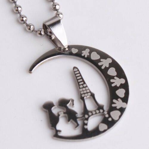 """316L Stainless Steel Pendant 0.94X1.10 Inch Moon Couple Silver Necklace 22/"""" B146"""