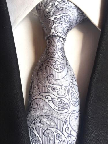 T120 NEW men silk ties /& handkerchief pocket square Tie set gray black paisley