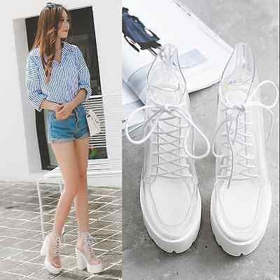 Womens Platform Abkle Boots Transparent Lace Up Chunky Heels Sexy Fashion E676