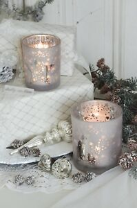 Windlicht Teelichtglas Bauernsilber Kerzenleuchter Set Weihnachten Shabby Chic
