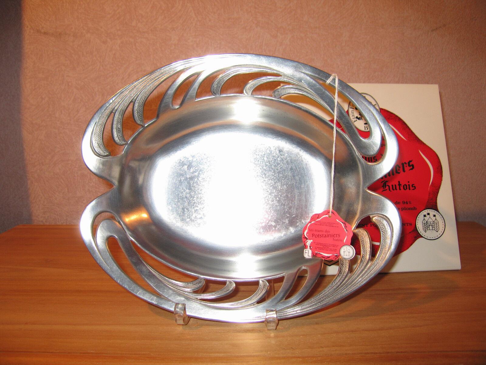 POTSTAINIERS HUTOIS NEW Corbeille ovale Tropica 28x21 cm étain pur 94% tin