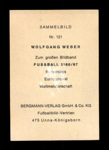 Wolfgang Weber 1 FC Köln Bergmann Sammelbild 1966-67 Original Signiert