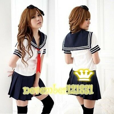 Japanese High School Girl Sailor Uniform Cosplay Costume dress good