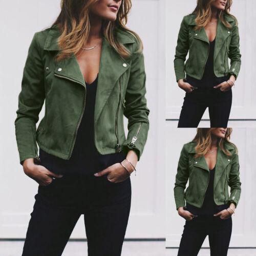 USA Womens Fashion Turn-down Collar Zipper Up Bomber Jacket Coat Outwear Short