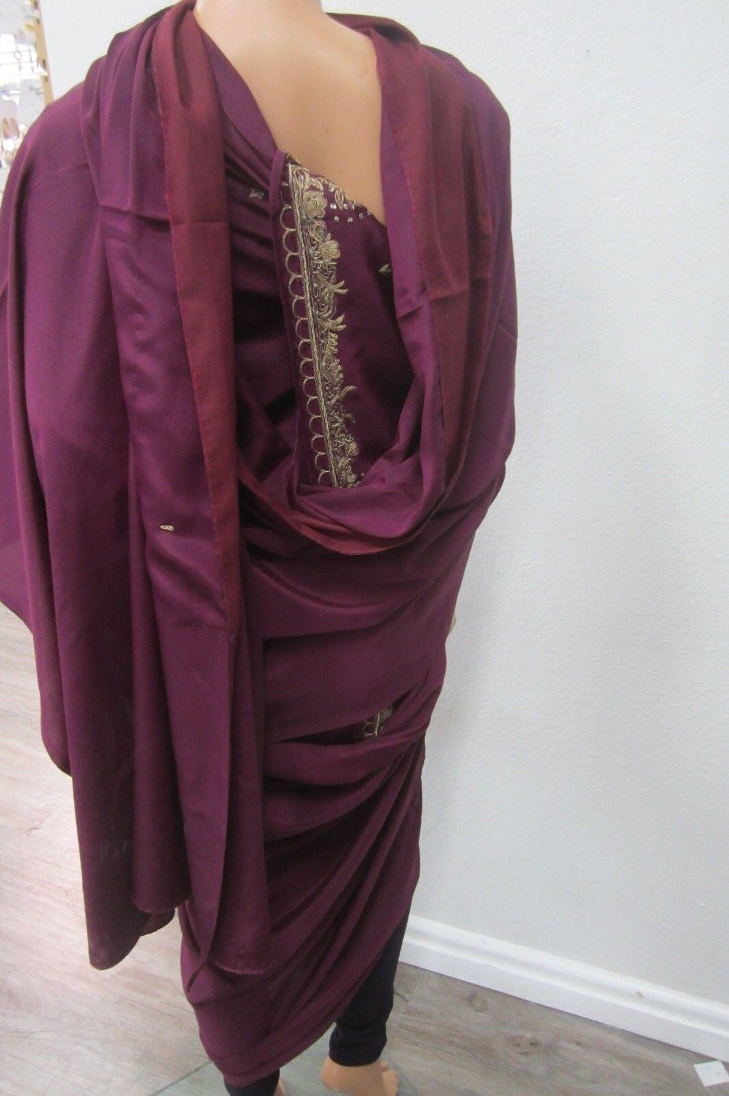 Beautiful Party Evening Dress Purple Saree Women Fashion Clothing Attire Sari