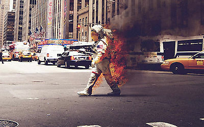 Astronaut on Fire Walking the Streets of New York Picture Poster Framed Print