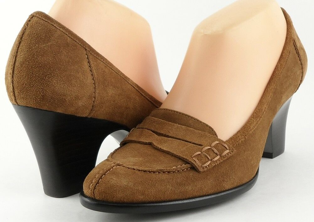 159 VIA SPIGA COMPOSE Toffee Braun Suede Designer WEAR to WORK Comfy Pumps 8.5