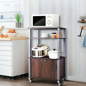 Details About Home Bakers Rack Microwave Stand Rolling Kitchen Storage Cart Display Shelves Us
