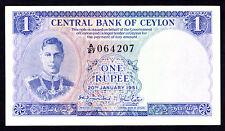 Ceylon 1 Rupee 1951  P. 47 George VI Note Crisp EF