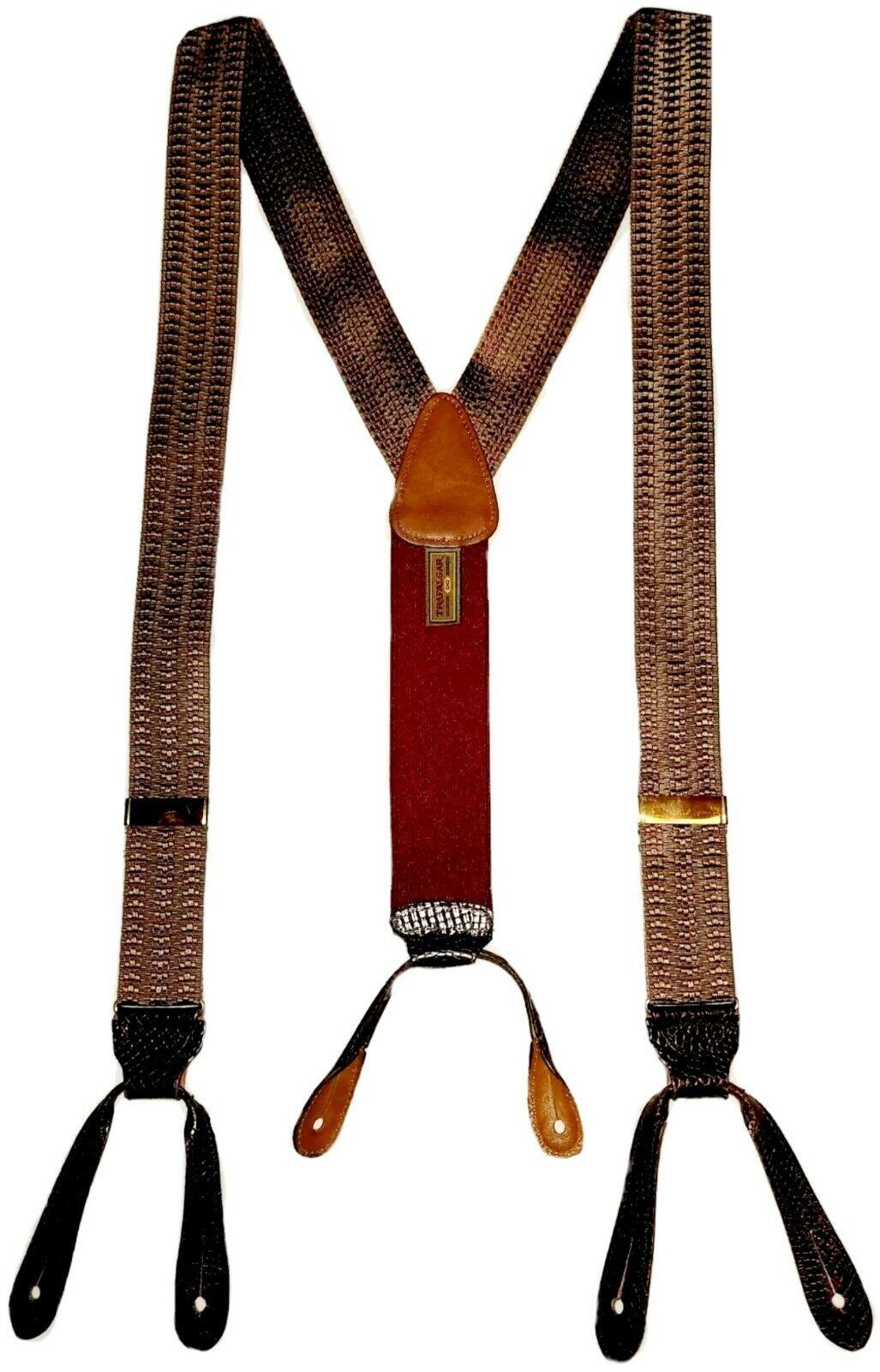 TRAFALGAR Suspenders Black Leather Braces w/Brass Fittings