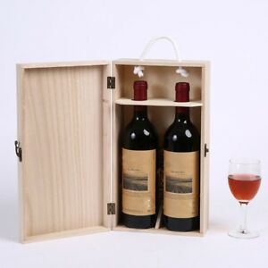 Image is loading Vintage-Red-Wine-Box-Portable-Pine-Wood-Wine- & Vintage Red Wine Box Portable Pine Wood Wine Storage Box Wine Bottle ...