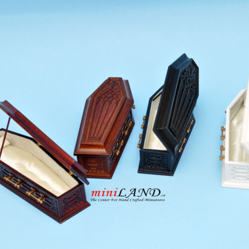 Coffin WH wood top Dollhouse miniature 1:12 fit Heidi Ott doll funeral Halloween