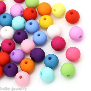 100-Neu-Mix-Matt-Acryl-Spacer-Perlen-Kugeln-Beads-Mehrfarbig-10mm