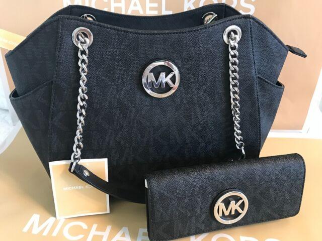 e5999448010c MICHAEL KORS JET SET Large TRAVEL CHAIN SHOULDER BAG + WALLET Black  556 NWT