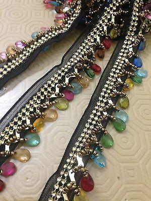 Black Beaded Teardrop Trim Curtain Blind Bead Fringe Trimming 1Yard X 30mm