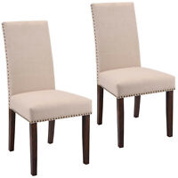 Set Of 2 Dining Chairs Fabric Upholstered Armless Accent Home Furniture Beige