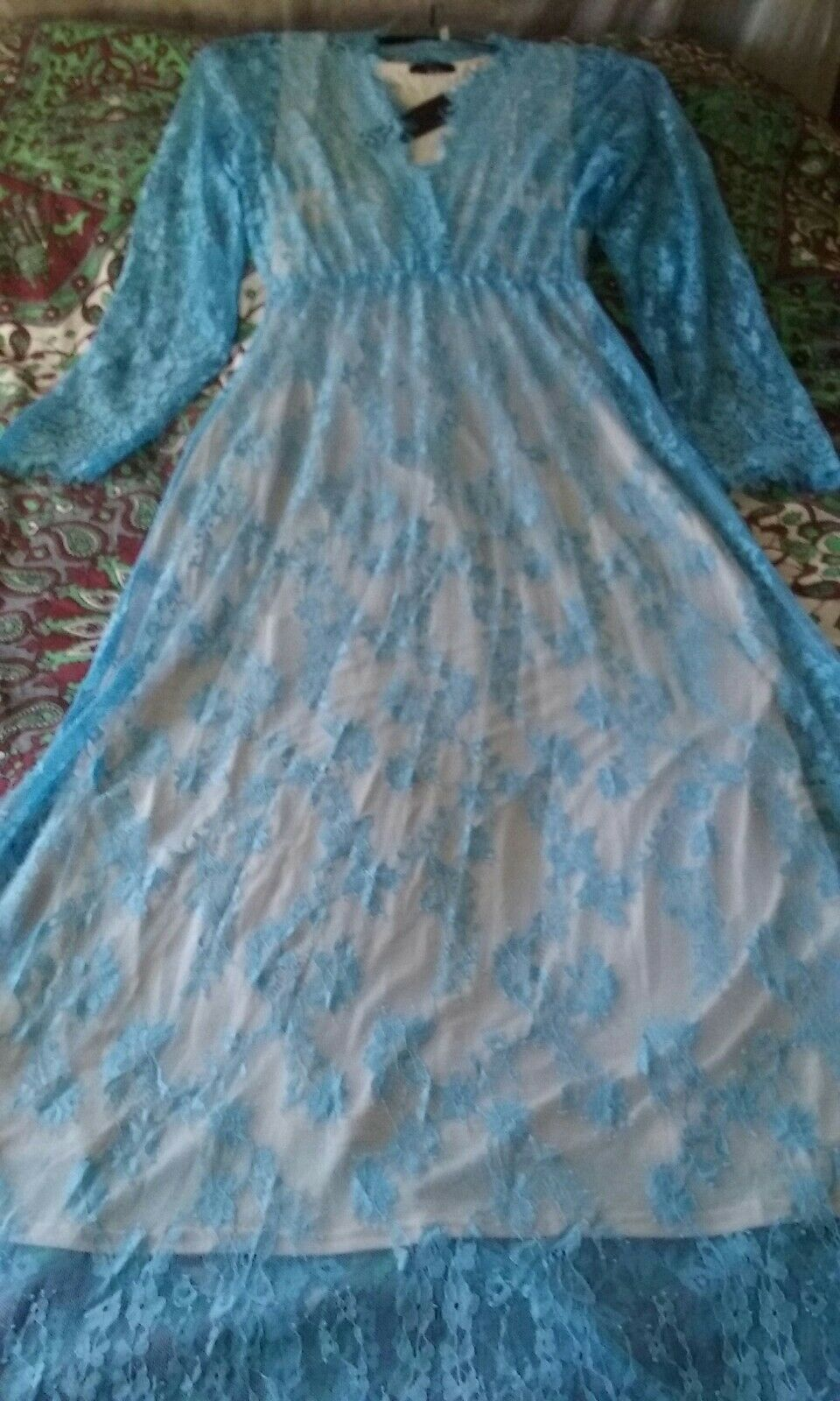 JW bleu glace dentelle Maxi robe avec sous robe 12 14 Frozen